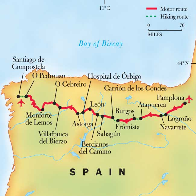Camino Walk Spain Map.Spain Pilgrimage Walking El Camino De Santiago National