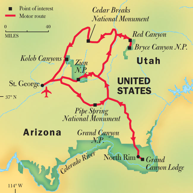 Grand Canyon Utah Map.Grand Canyon Bryce Zion National Park Tours National