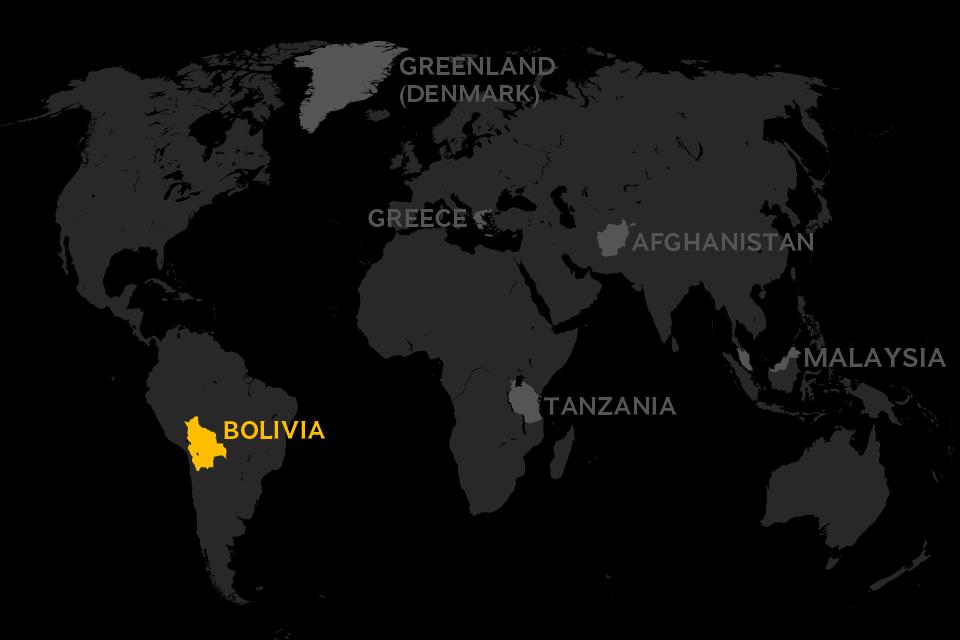 Map of world locating Bolivia
