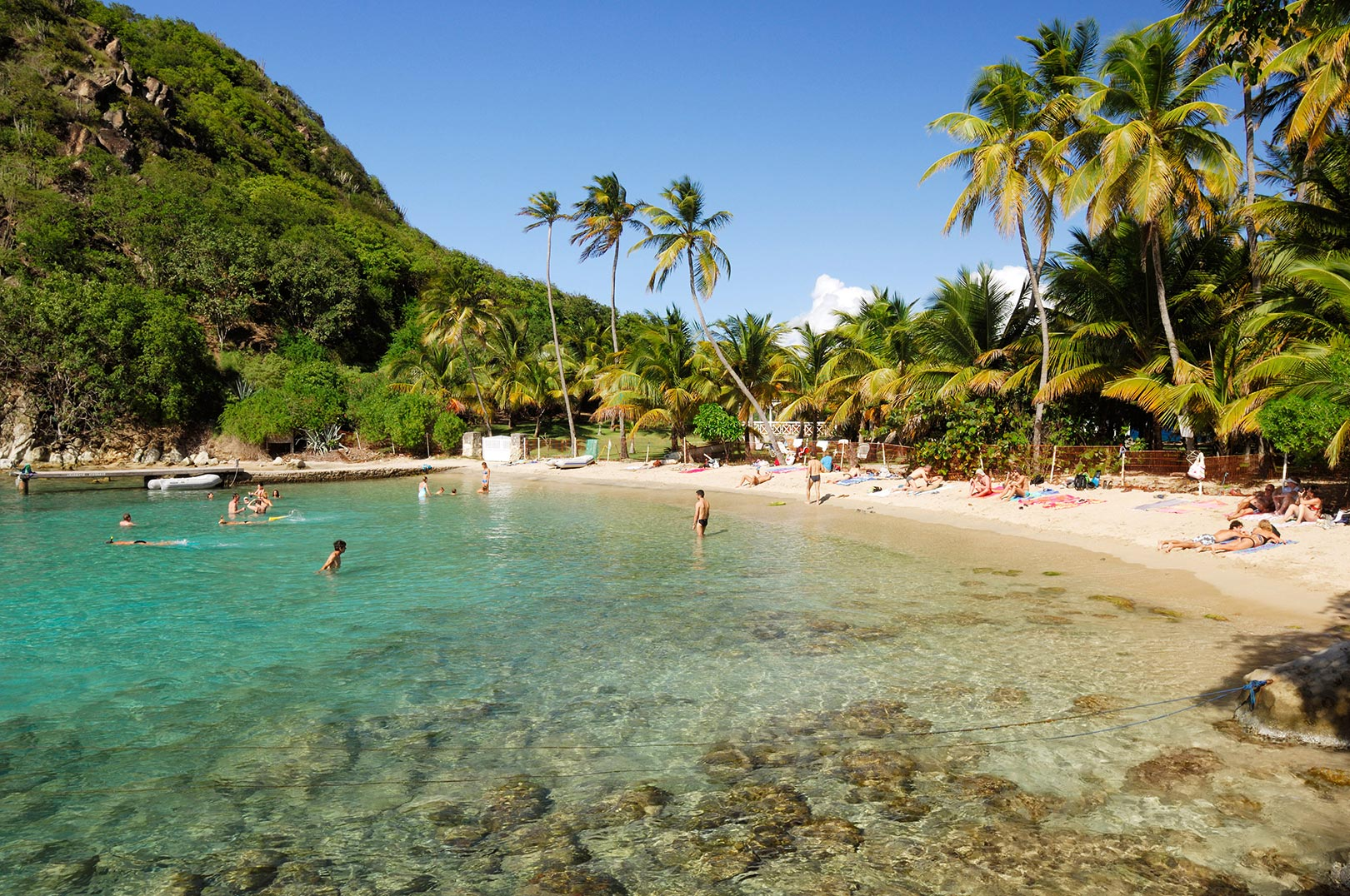 Picture of people relaxing at sugarloaf cove les saintes guadeloupe islands