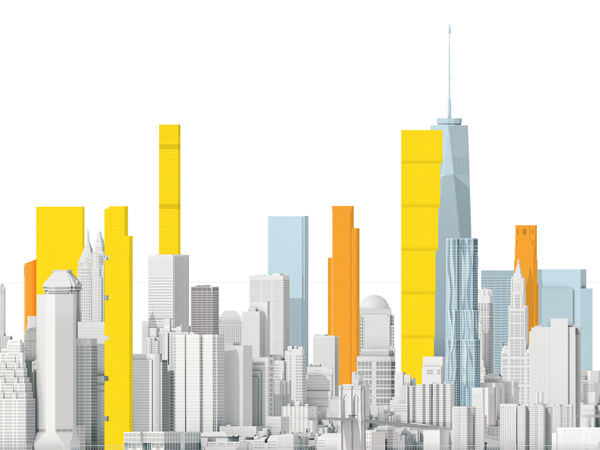 Image result for a vertical city with multiple tall buildings vs horizontal city with fewer tall buildings