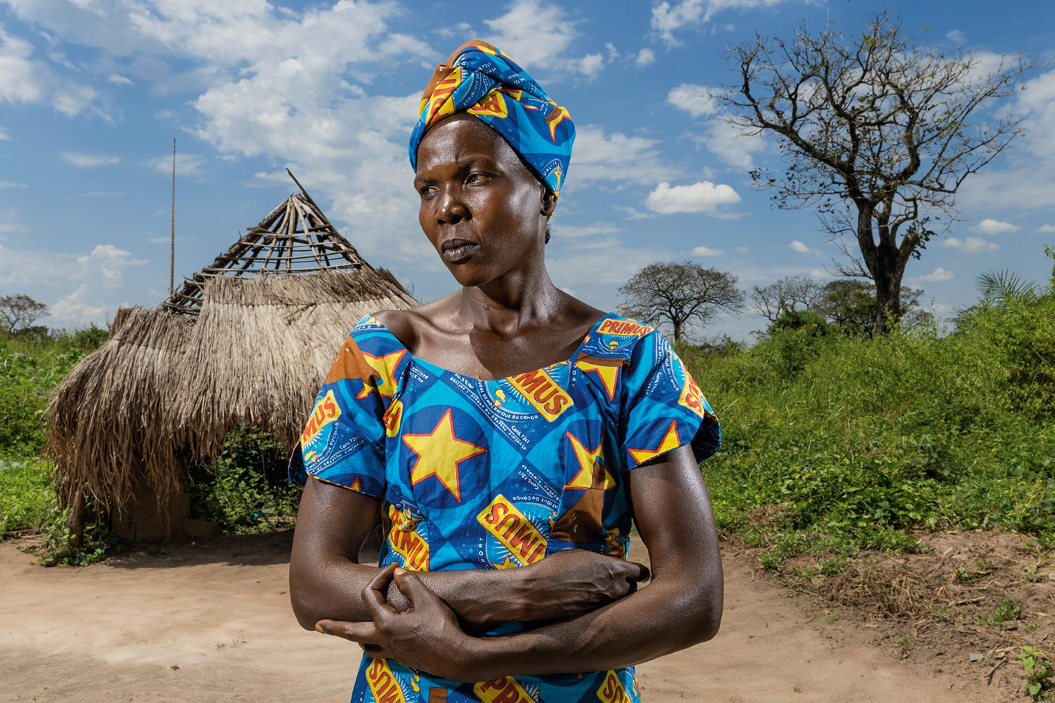 Picture of widow Lucienne Lanziwa at her home in Garamba National Park