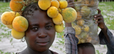 Photo: Marula fruit as a headdress